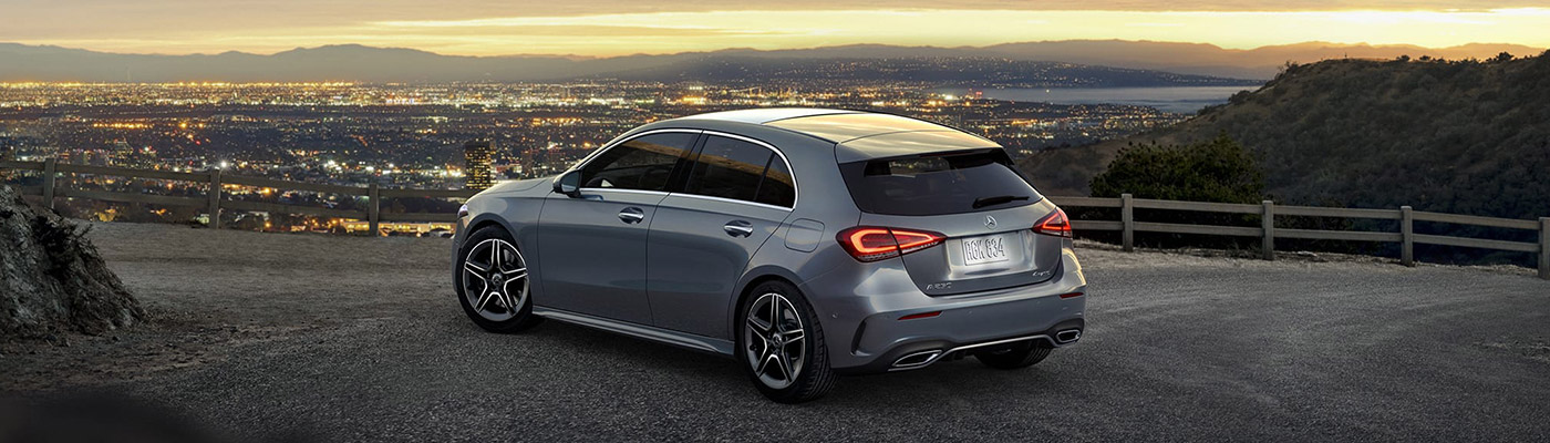 Rear view of a silver 2019 A-class hatchback