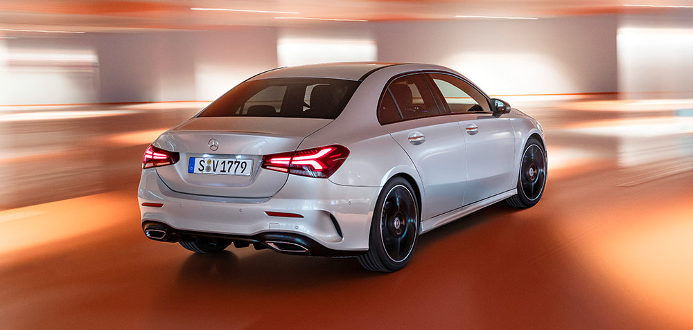 High speed rear exterior shot of a 2019 Mercedes-Benz A-Class Sedan