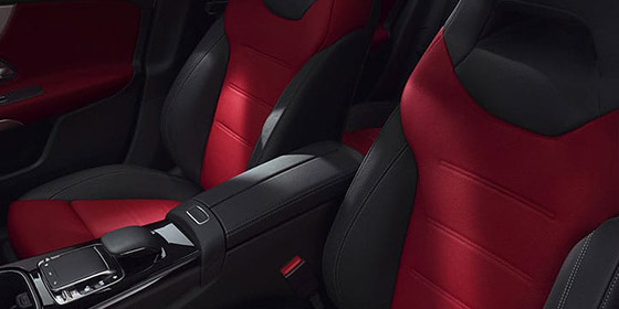 2019 A -class hatchback red and black interior