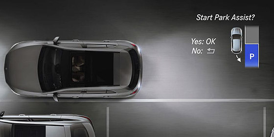 A-class hatchback top view showing park assist technology