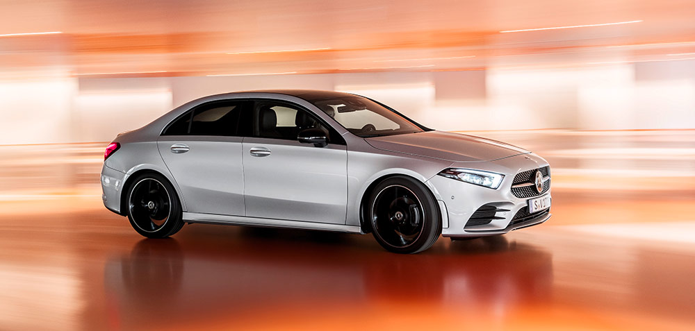 High speed side exterior shot of a 2019 Mercedes-Benz A-Class Sedan