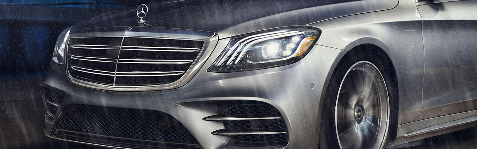 Mercedes-Benz S-Class driving in the rain