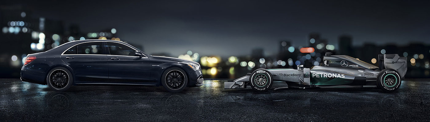 Mercedes-Benz S-Class side view with Mercedes-Benz Formula-1 car