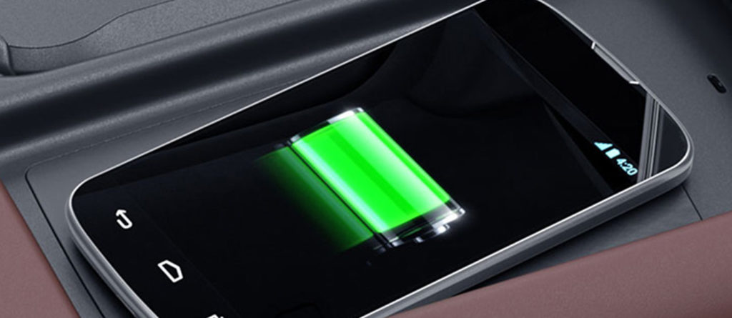 Wireless charging phone in a Mercedes-Benz S-Class