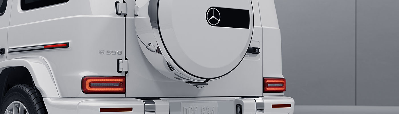 Rear view of a white 2019 G-class