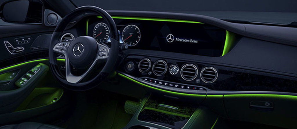 Mercedes-Benz S-Class interior with green ambient lighting