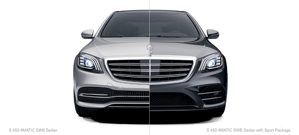 Split view of a Mercedes-Benz S 450 Sedan and S450 Sedan with Sport Package