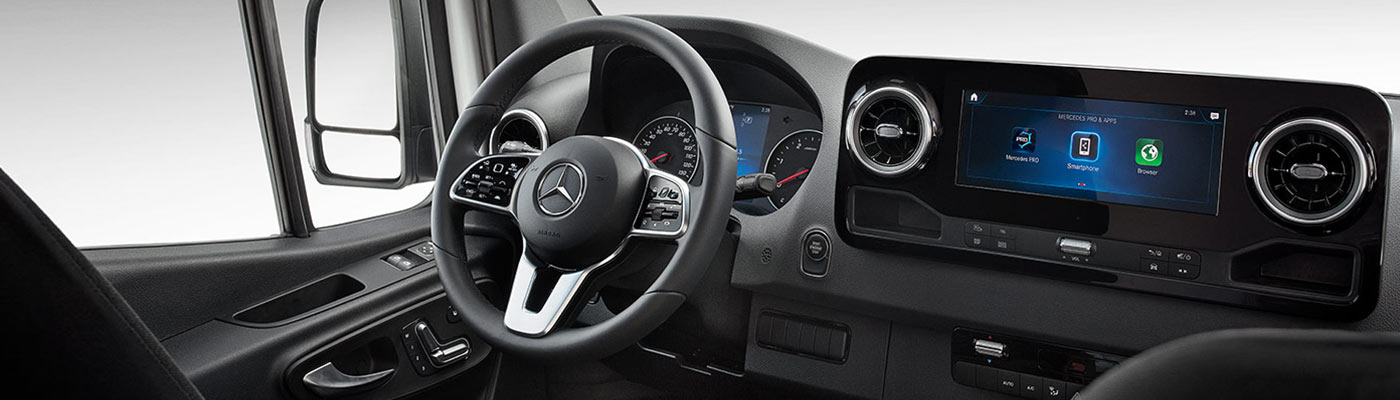 2019 Sprinter Passenger interior view of dash and steering wheel