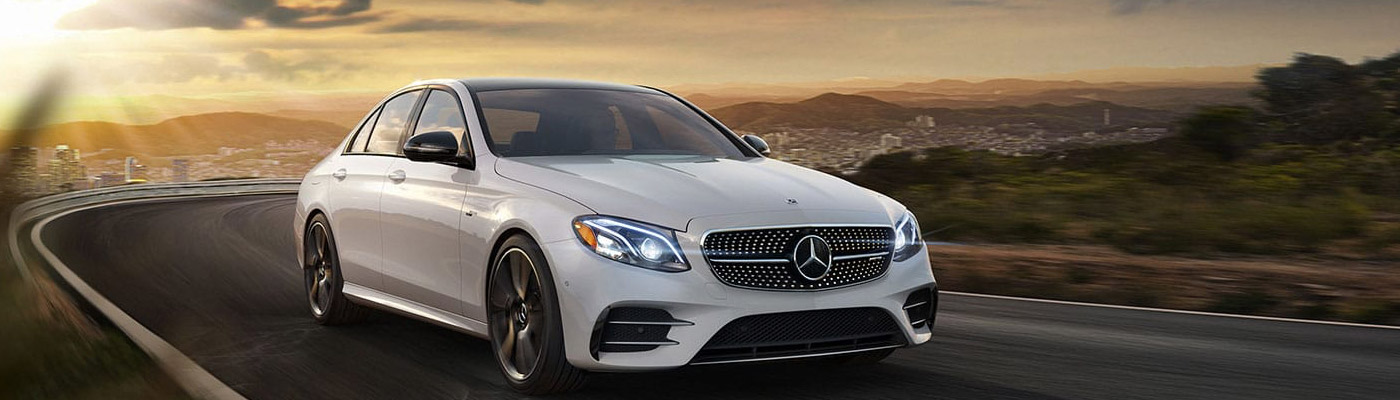 Front view of a white 2019 E-class Sedan AMG