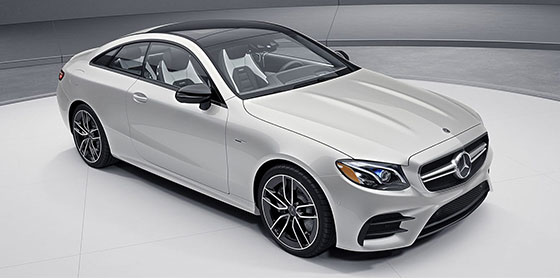 3/4 view of a white Mercedes-Benz E-class AMG Coupe