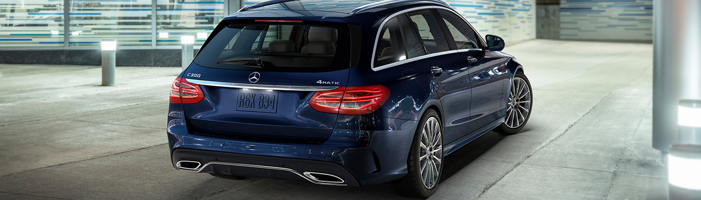 Rear view of a dark blue C-Class wagon