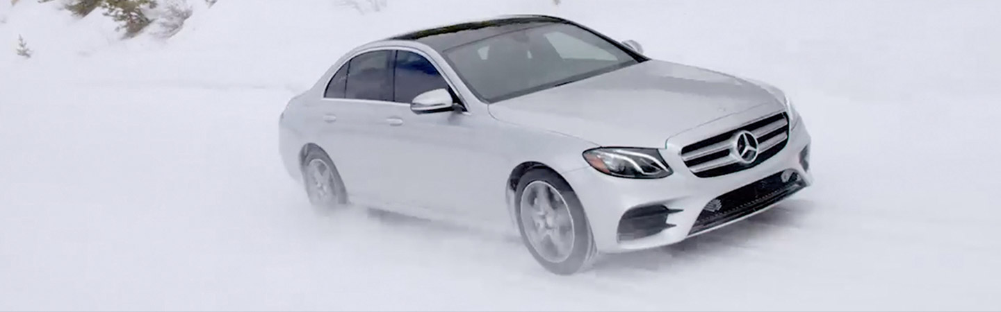 2019 E-class Sedan on a winter road
