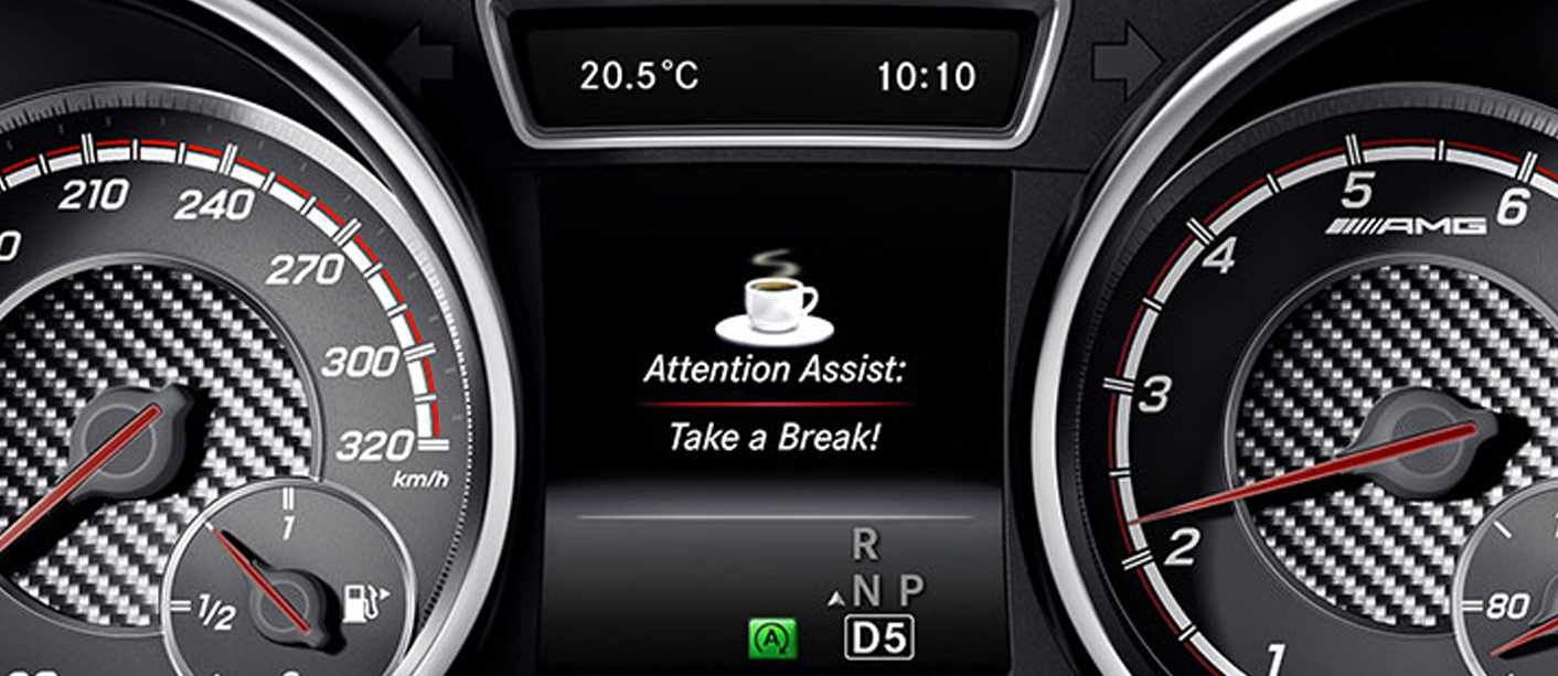 Zoomed in view of the speed gauges with the alert to take a break