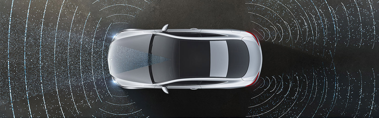 Top view of a c-class coupe showing the driver assists